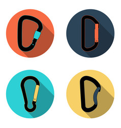 Climbing carabiners flat icon set vector