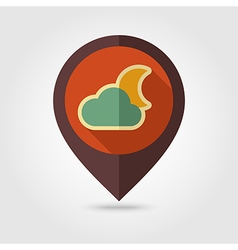 Cloud Moon retro flat pin map icon Weather vector