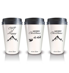 coffee cups to go realistic mock up vector image