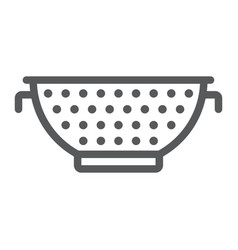 Colander line icon kitchen and cooking strainer vector