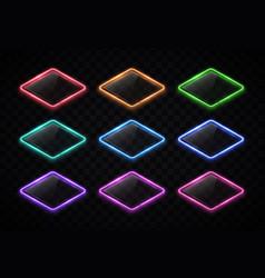 Color led lamp electric lozenge signs set vector