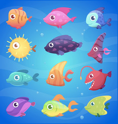 colorful cartoon fish funny underwater animals vector image