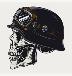 Colorful vintage concept biker skull vector
