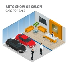 Commercially colorful cars stand in car shop vector