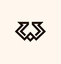 creative professional trendy monogram w logo vector image