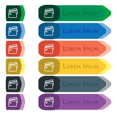 Credit card icon sign Set of colorful bright long vector image