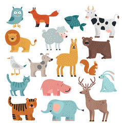 cute animals tiger owl and bear elephant and vector image