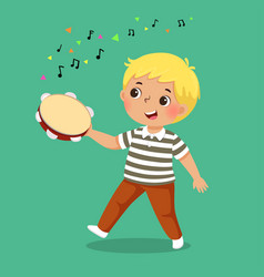 cute boy playing tambourine on green background vector image