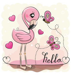 cute flamingo with hearts and butterflies vector image