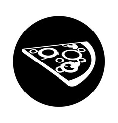 Delicious pizza portion icon vector