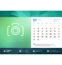 Desk Calendar Template for 2017 Year July Design vector image