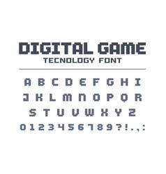 Digital game technology font retro letters vector