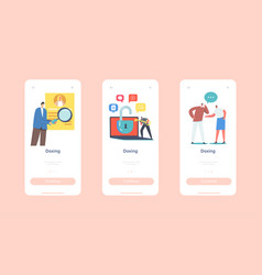 Doxing mobile app page onboard screen template vector