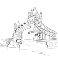 drawing tower bridge in london uk vector image