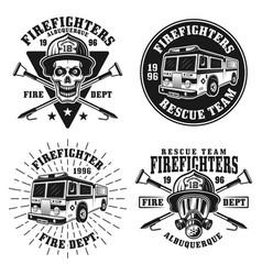firefighters set four emblems or badges vector image