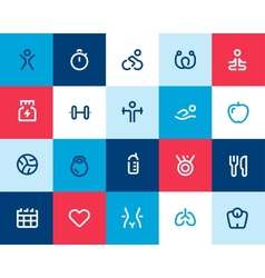 Fitness icons set Flat vector image