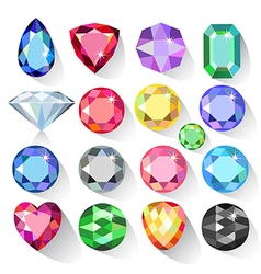 Flat style long shadow set of colored gems vector