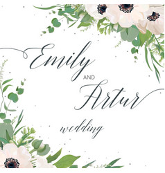 Floral wedding invite elegant card design vector