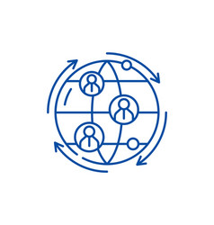global business connections line icon concept vector image