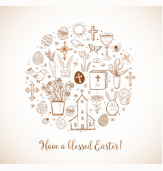 Greeting card with easter doodles in circle in vector