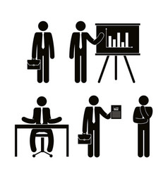 Group of business people with paperboard teamwork vector