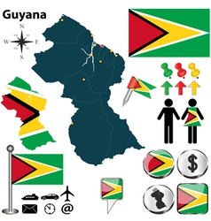 Guyana map vector image