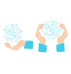 Hand with blue globe in retro style vector
