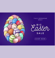 happy easter card with eggs many beautiful vector image