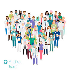 Healthcare medical team in heart shape vector
