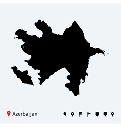 High detailed map of Azerbaijan with navigation vector image