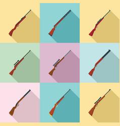 hunting rifle icons set flat style vector image