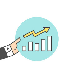 Icon of growth chart vector