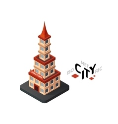 Isometric chinatown icon building city vector image