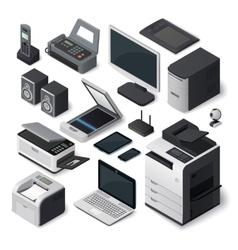 Isometric office equipment set vector