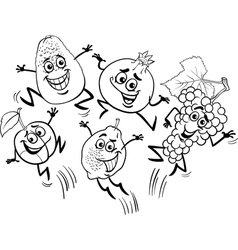 Jumping fruits cartoon coloring book vector