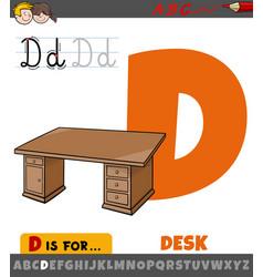 Letter d from alphabet with cartoon desk vector