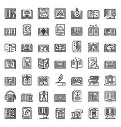 Literary genres icons set outline style vector