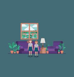 Little girls in livingroom vector