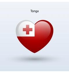 Love Tonga symbol Heart flag icon vector image