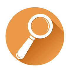 magnifying glass orange round search icon vector image