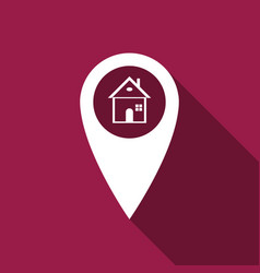 map pointer with house icon with long shadow vector image