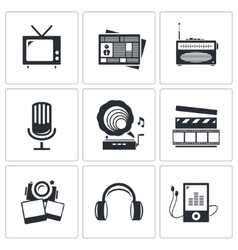 Media icons set - video news music TV recording vector image