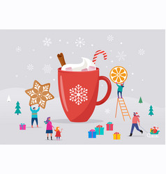 merry christmas winter scene with a big cocoa mug vector image