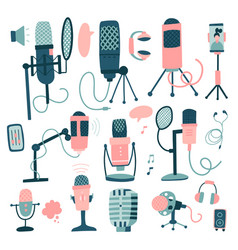 microphones and dictaphone big set hand drawn vector image