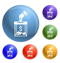 Migrant help money charity icons set vector