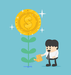 money tree businessman watering a money plant vector image