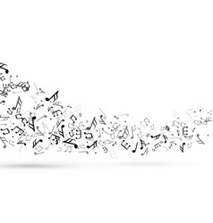 music notes swirl wave with notes musical stave vector image