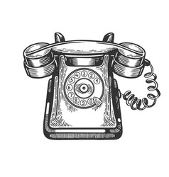 old rotary dial phone engraving vector image