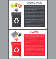 organic waste and e-waste set vector image