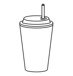 Paper cup soda straw thin line vector